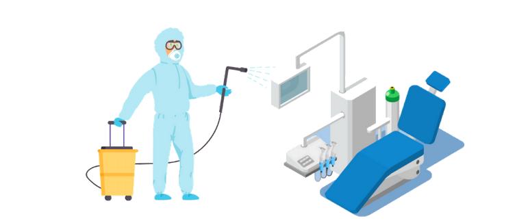 Igienizzazione di una poltrona del reparto di Odontoiatria in era COVID-19