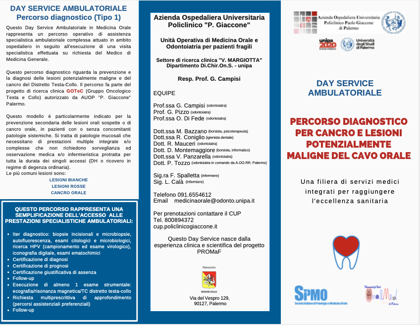Flyer Percorso diagnostico per cancro e lesioni potenzialimente maligne del cavo orale